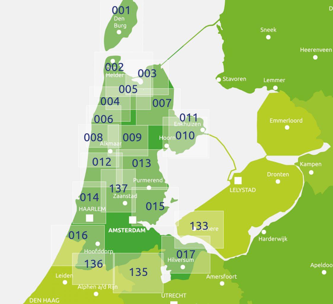 zoekkaart Knooppuntkaart Noord Holland
